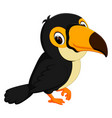 cartoon bird toucan jumping vector image vector image