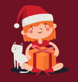 Christmas Girl Holding a Present next to her Cat vector image vector image