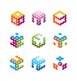 collection of logos consists of small dots vector image