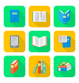 colored flat style books icons set vector image