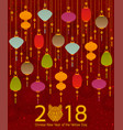colorful chinese paper street lanterns background vector image vector image