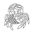 coloring page with crab in ornamnets in design vector image vector image