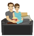 couple watching movie at home sitting with popcorn vector image