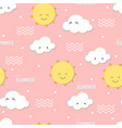 cute hello summer smiling sun and cloud doodle vector image vector image