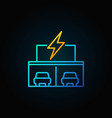 electric car showroom concept icon in thin line vector image