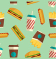 fast food icons pattern in flat style vector image vector image