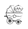 figure security stroller with baby child inside vector image vector image