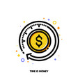 finance service icon with clock and dollar vector image vector image