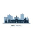 fort wayne skyline monochrome silhouette vector image vector image