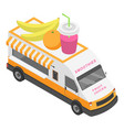 fruit juices truck icon isometric style vector image vector image