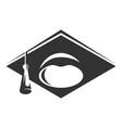 graduate cap black icon academic wisdom and vector image vector image