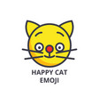 happy cat emoji line icon sign vector image