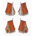 Low poly A-Frame wooden house vector image vector image