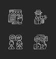 marketing strategies chalk white icons set vector image