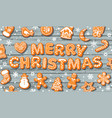 merry christmas greeting card text made vector image vector image