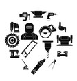 metal working icons set simple style vector image vector image