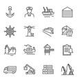monochrome simple sea port icon set vector image vector image