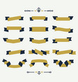 navy blue and golden ribbon banners icons set vector image vector image