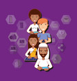 people of different race with technological vector image vector image