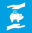 piggy bank and hands icon white vector image