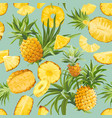 pineapple fruit tropical pattern tropic seamless vector image vector image