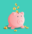 pink piggy bank icon moneybox with cold coins vector image