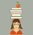 pretty girl with books on the head vector image vector image