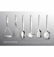 realistic kitchen silver cooking tools set vector image vector image