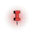 Red push pin comics icon vector image vector image