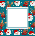 santa claus and reindeer on blue banner card vector image vector image