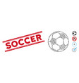 scratched soccer line seal with mosaic football vector image vector image