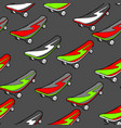 seamless pattern with cartoon skateboard vector image vector image