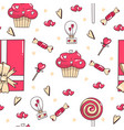 seamless pattern with cupcakes candies gift vector image vector image