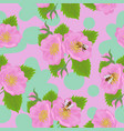 seamless pattern with wild rose flowers and bees