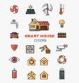 set line art icons smart home vector image vector image