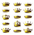 set vintage golden crown icons vector image