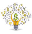 shining light bulb and set dollar icons vector image vector image