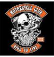 skull bikers orange smork vector image vector image
