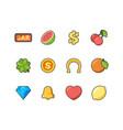 slot machine icon casino symbols cherry bananas vector image vector image