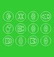 smart watch wearable devices linear icons set vector image