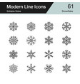 snowflake icons modern line design set 61 vector image vector image