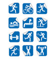 stickers with fitness sport icons vector image