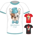 T-shirt with French Bulldog dog gentleman vector image vector image