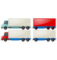 two trucks with storage wagon vector image vector image