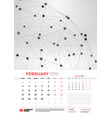 wall calendar template for february 2019 with vector image vector image