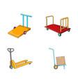 warehouse cart icon set cartoon style vector image