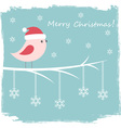 Winter card with cute bird and snowflakes vector image vector image