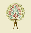 yoga tree concept of woman doing relaxation pose vector image vector image
