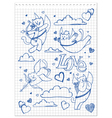Hand-drawn lovely cats vector image