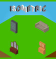 isometric furniture set of cupboard sideboard vector image